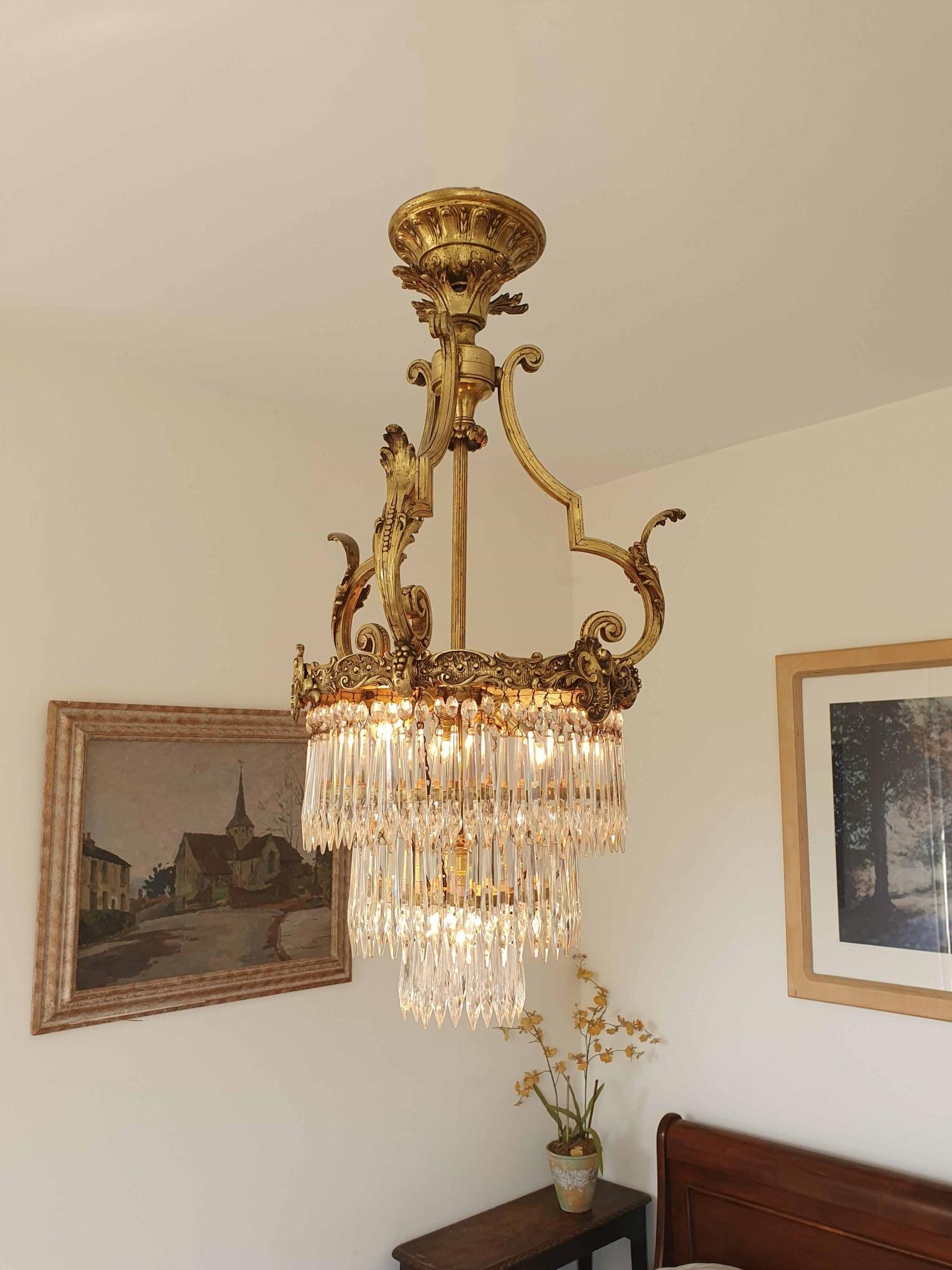 Fonderies De Bronze Nanterre Lyon Gilt Brass Glass Chandelier France Early C 20th Jones Antique Lighting